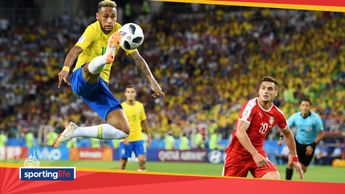 Neymar in action for Brazil against Serbia