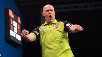 Michael van Gerwen celebrating (Pic: Lawrence Lustig/PDC)