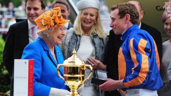 The Queen congratulates Ryan Moore after the Gold Cup