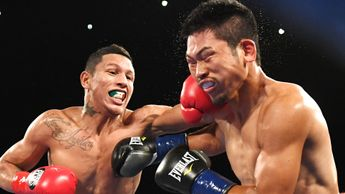 Miguel Berchelt (left) lands a left hand