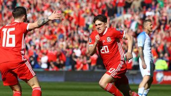 Dan James celebrates scoring a goal for Wales