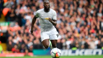 Romelu Lukaku chases the ball at Anfield