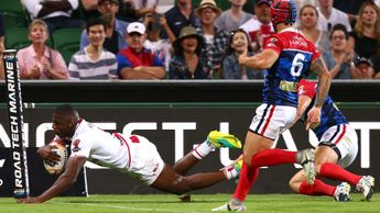 Jermaine McGillvary gets a try for England