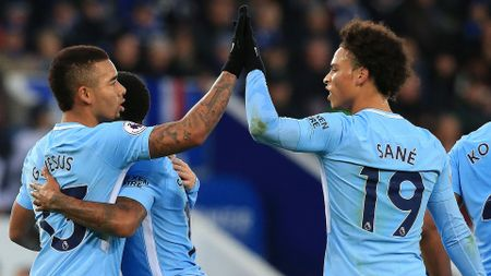 Gabriel Jesus and Leroy Sane celebrate
