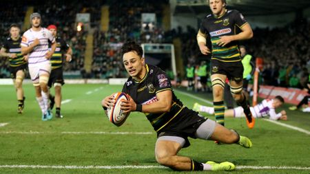 Tom Collins races in to score for Northampton during their win over Leicester