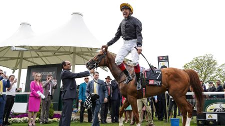 Stradivarius and Frankie Dettori after completing the Stayers' Million at York