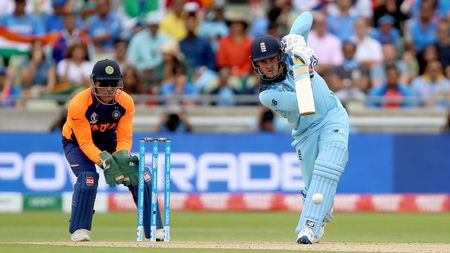 Jason Roy drives against India at Edgbaston