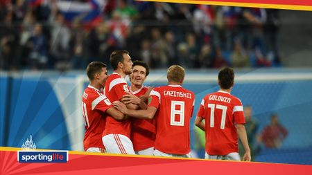 Russia celebrate scoring against Egypt