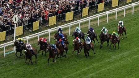 Edward Lewis (light blue, quartered cap) in action at Royal Ascot