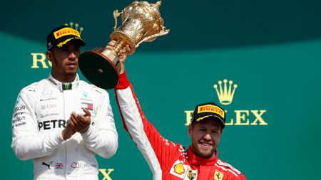 Hamilton and Vettel on the Silverstone podium