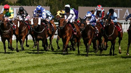 Donjuan Triumphant (blue and white silks, second right)