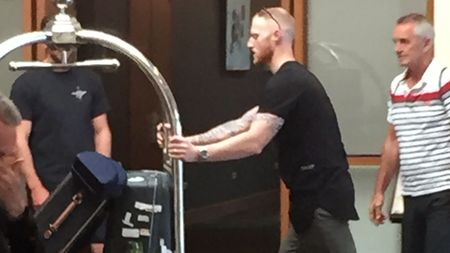 Ben Stokes arrives at the team hotel