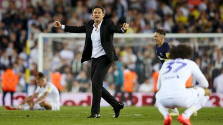 Frank Lampard: Derby boss celebrates their play-off semi-final win at Leeds