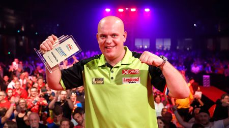 Michael van Gerwen celebrates his victory at the European Darts Trophy (Picture: Kais Bodensieck/PDC Europe)