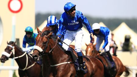 William Buick celebrates Ribchester's win in the Queen Anne