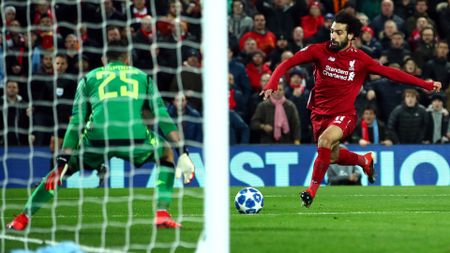 Mohamed Salah scores for Liverpool against Napoli