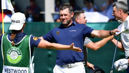 Lee Westwood celebrates his thrilling victory