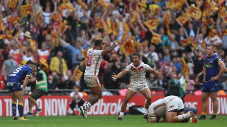 Kenny Edwards of Catalans Dragons and David Mead of Catalans Dragons celebrate their victory during the Ladbrokes Challenge Cup Final
