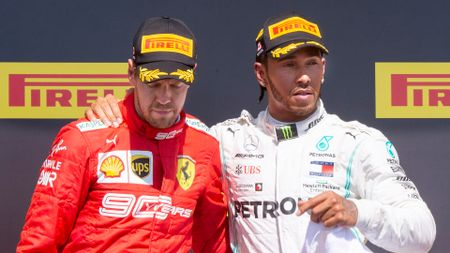 Sebastian Vettel and Lewis Hamilton after the Canadian Grand Prix