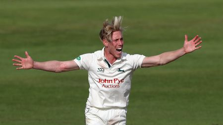 Luke Wood of Notts appeals for an LBW