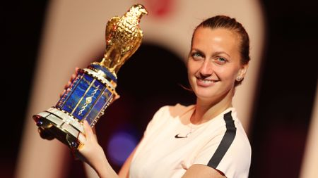 Petra Kvitova with the Qatar Open trophy