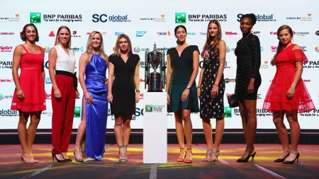 The WTA Finals singles line-up, pictured at the draw ceremony