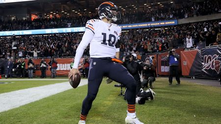 Mitchell Trubisky celebrates his touchdown