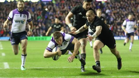Huw Jones scores Scotland's second try