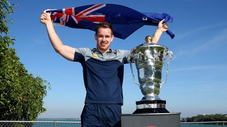 Australia's Michael Morgan with the World Cup trophy