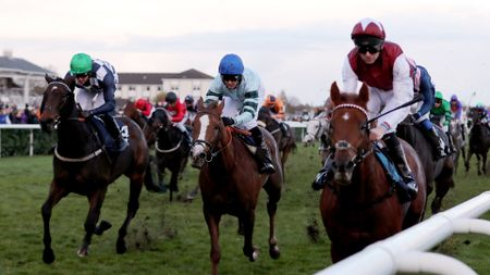 Royal Line (right) pulls clear to win the November Handicap