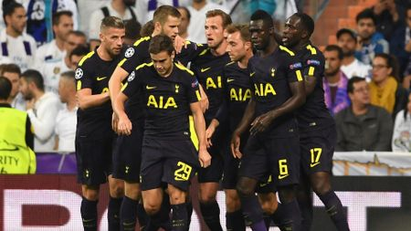 Tottenham celebrate after scoring against Real Madrid
