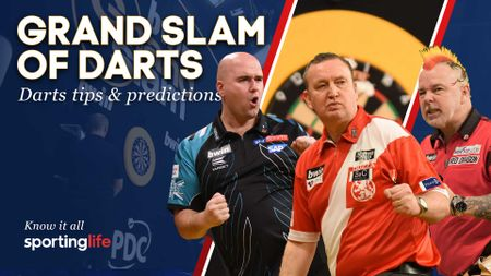 Rob Cross, Glen Durrant and Peter Wright are in action at the Grand Slam of Darts on Monday