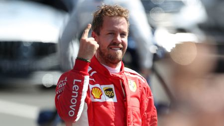 Vettel celebrates his win at Silverstone