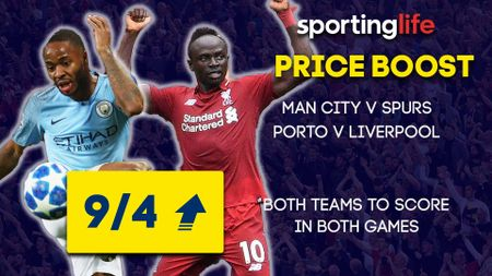 The Sporting Life Price Boost for Wednesday's Champions League games