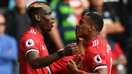 Paul Pogba (l) and Anthony Martial were both on target for United at Swansea