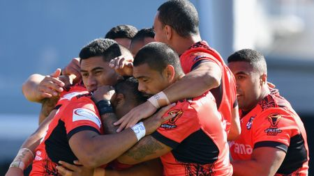Tonga celebrate their victory