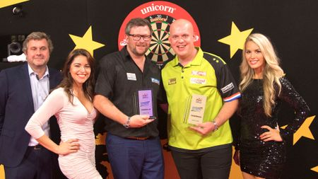 Michael van Gerwen and James Wade after the European Darts Trophy final (Picture: Kais Bodensieck/PDC Europe)