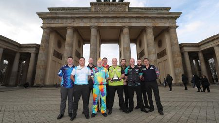 The 10 Premier League players outside Berlin's Brandenburg Gate (Pic: Lawrence Lustig)