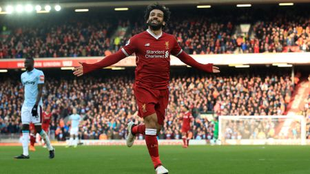 Mohamed Salah celebrates after scoring for Liverpool