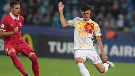 Mikel Merino in action for Spain U21s