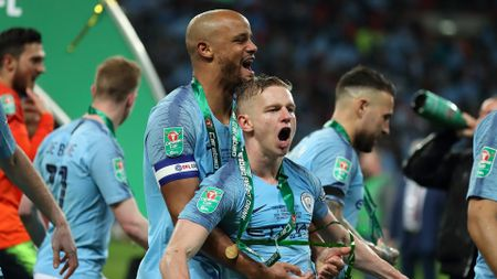 Vincent Kompany and Oleksandr Zinchenko after Manchester City won the Carabao Cup