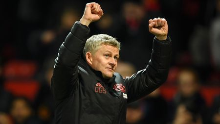 Celebrations for Ole Gunnar Solskjaer after Manchester United's win over Brighton