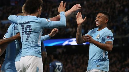 Gabriel Jesus (right) celebrates after scoring
