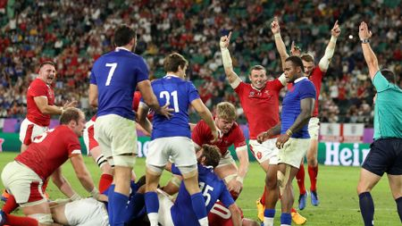 Wales celebrate their late try against France in the Rugby World Cup quarter-final