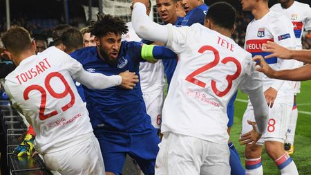 Everton and Lyon players clash at Goodison