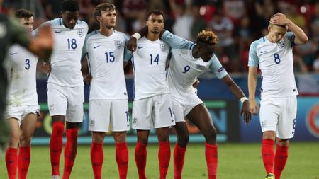 A dejected England U21 outfit after their exit on penalties