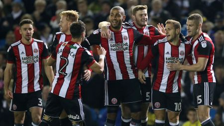 Billy Sharp and Sheffield United celebrate