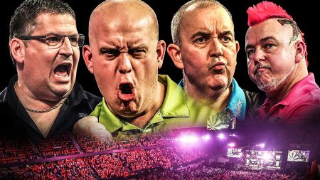 Gary Anderson, Michael van Gerwen, Phil Taylor and Peter Wright are the final four at the Grand Slam of Darts