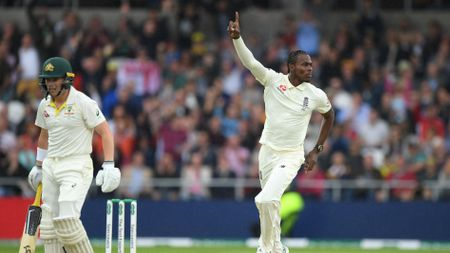 Jofra Archer celebrates his early wicket