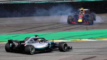 Lewis Hamilton takes over from a spinning Max Verstappen